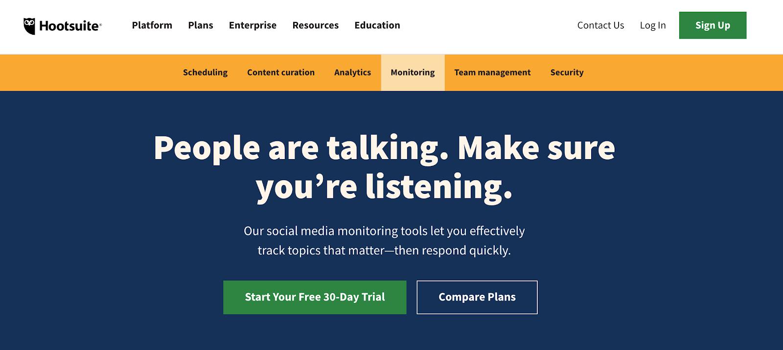 screenshot hootsuite landing page - social media monitoring