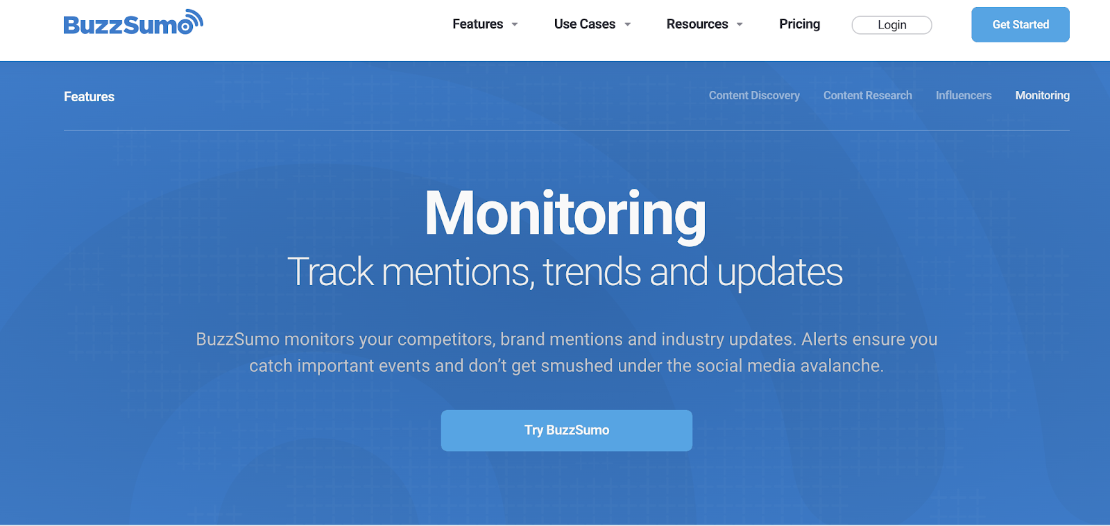 screenshot buzzsume landing page - social media monitoring