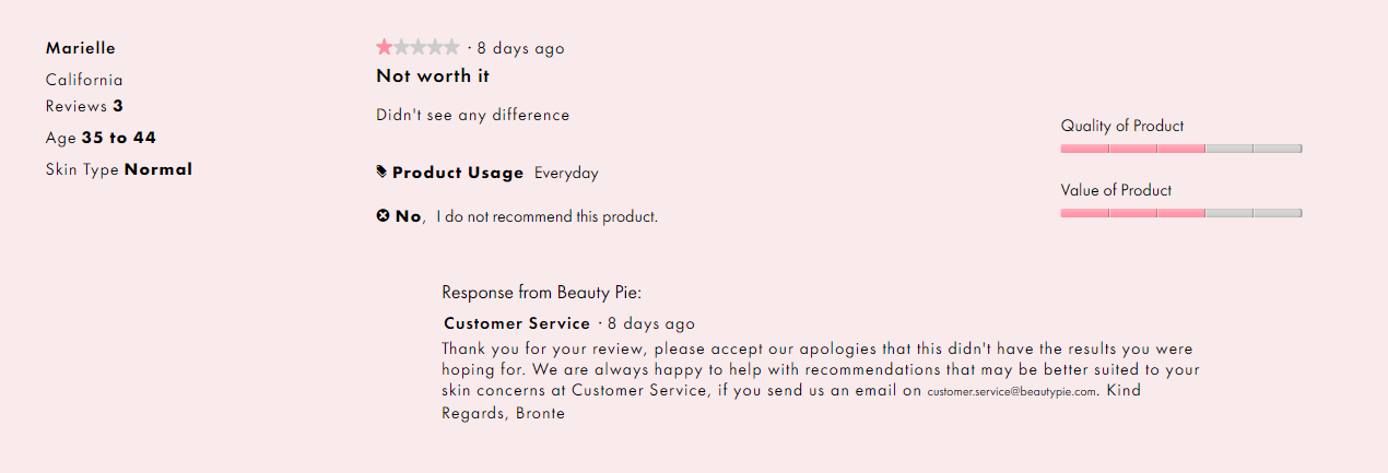 screenshot beautypie 1 star review - brand reputation management