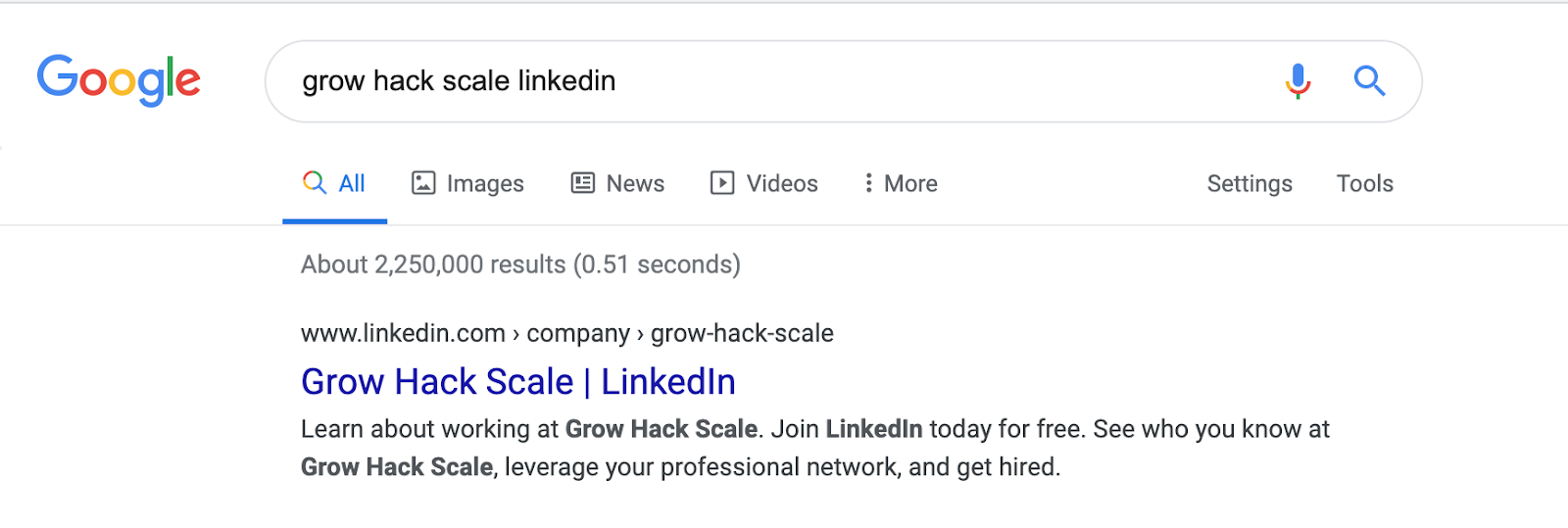 screenshot google search grow hack scale linkedin - search queries