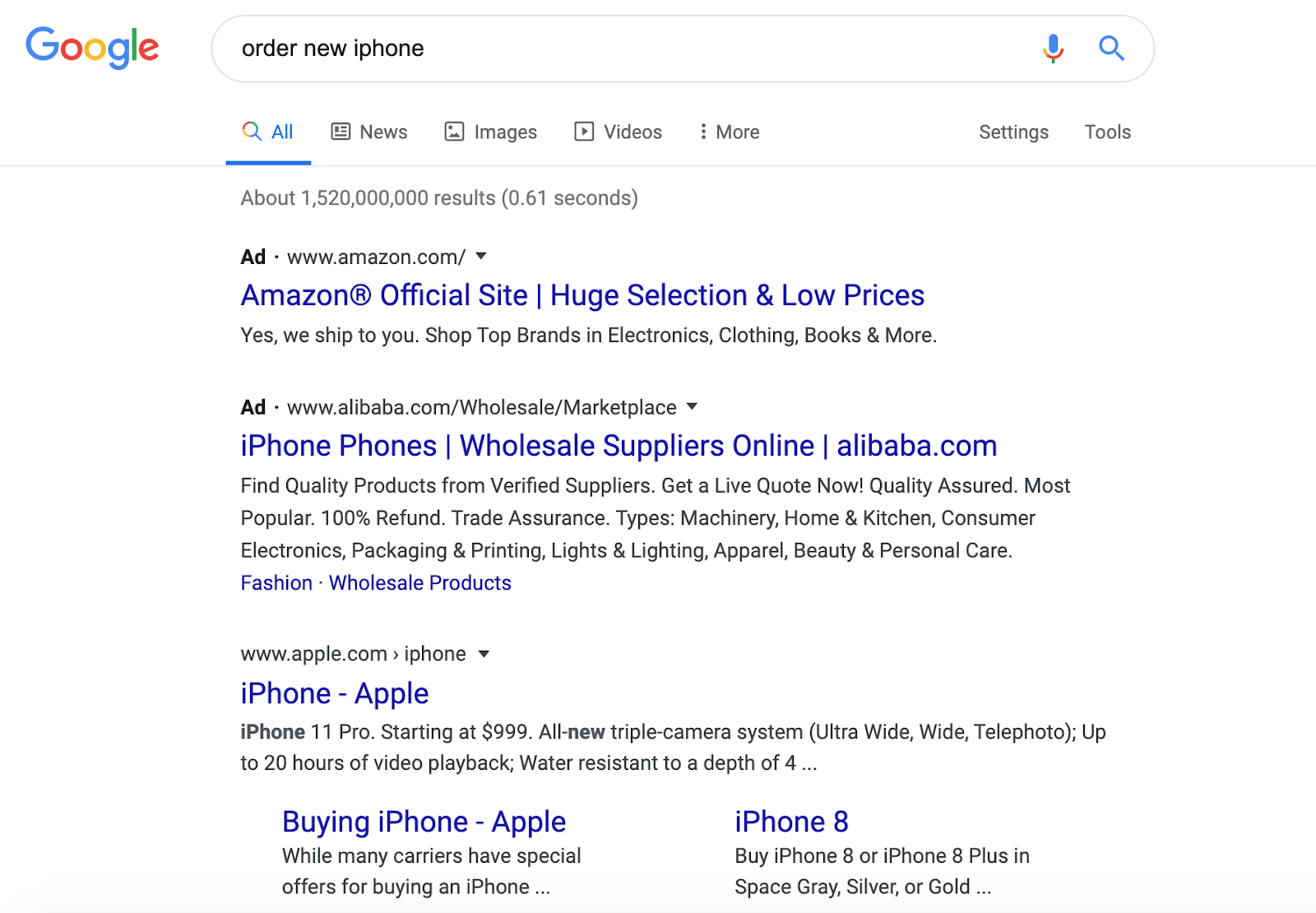 google search results order new iphone - search queries