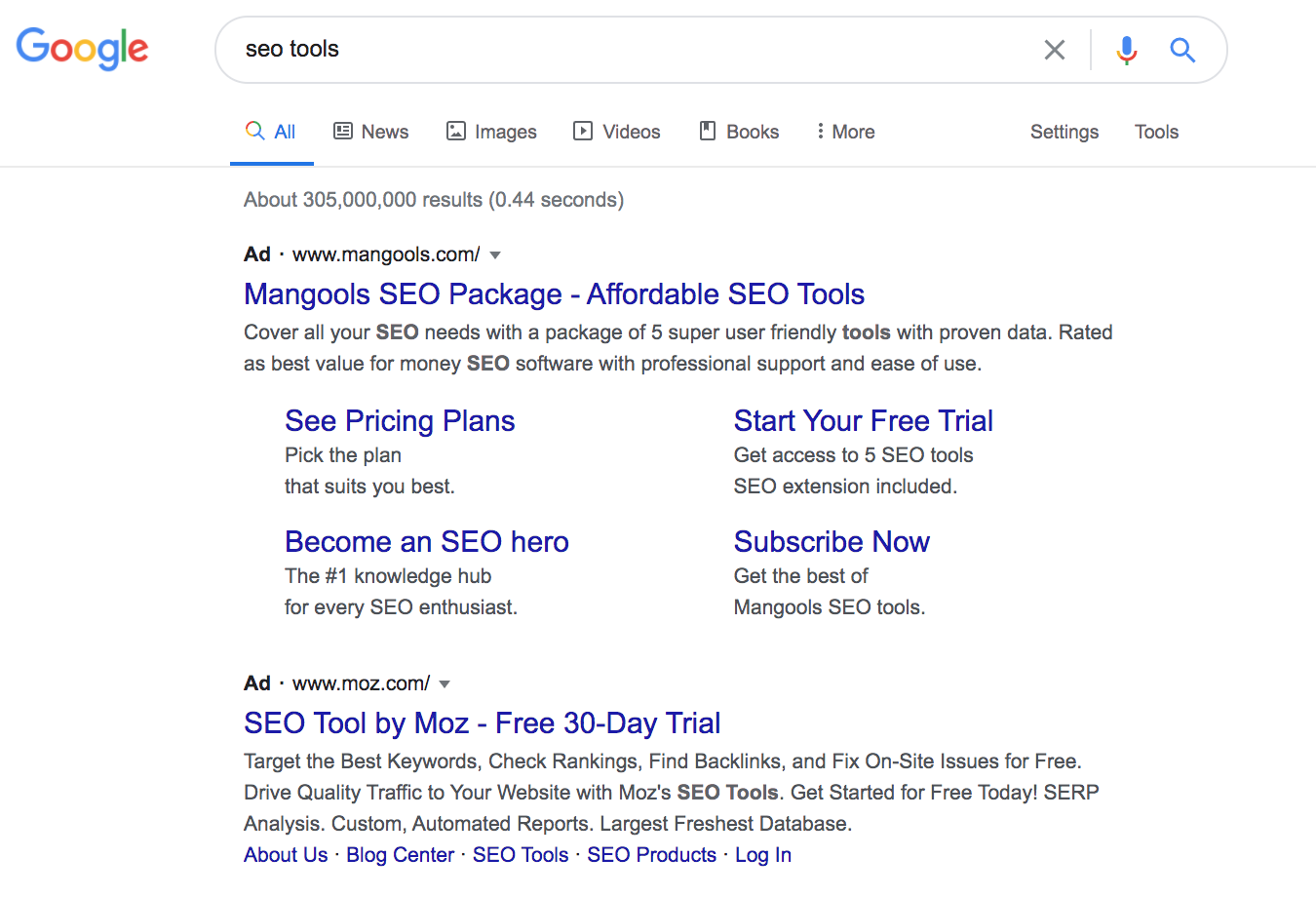 screenshot google search results seo tools paid traffic