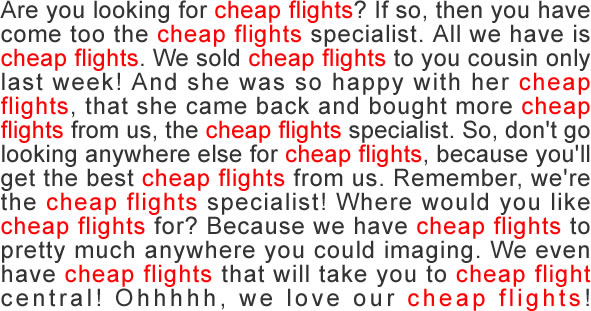 screenshot content stuffing cheap flights content optimization