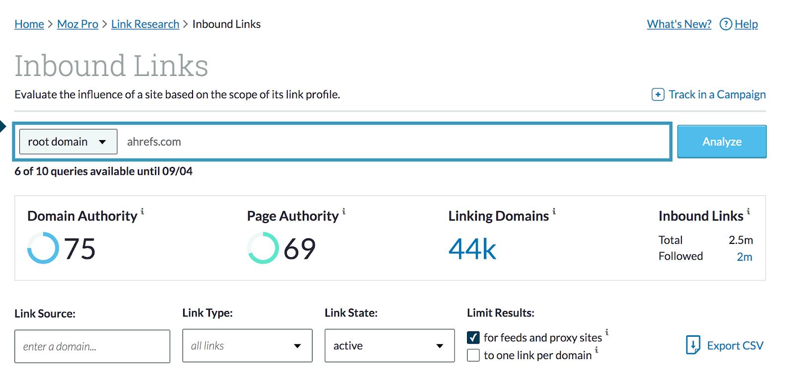 screenshot mozbar inbound links dashboard domain authority