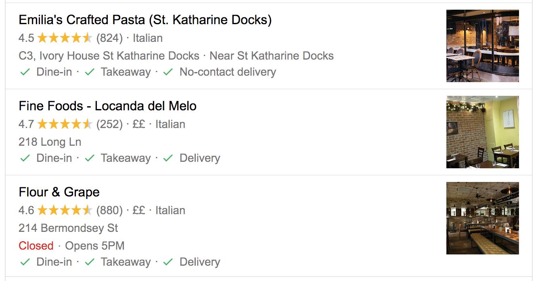 screenshot google restaurant reviews rich results