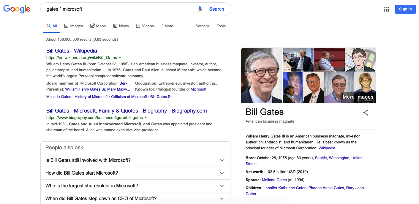 Google search results for Bill Gates * Microsoft