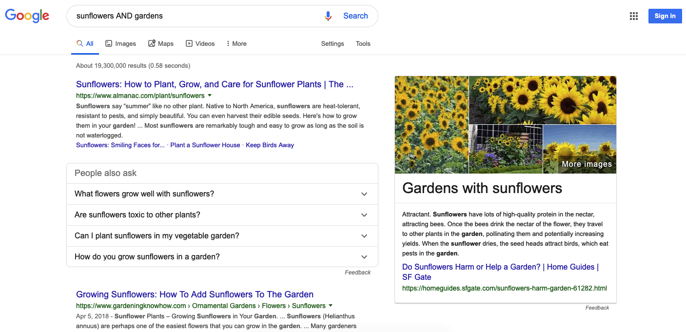 Google search results for sunflower and gardens
