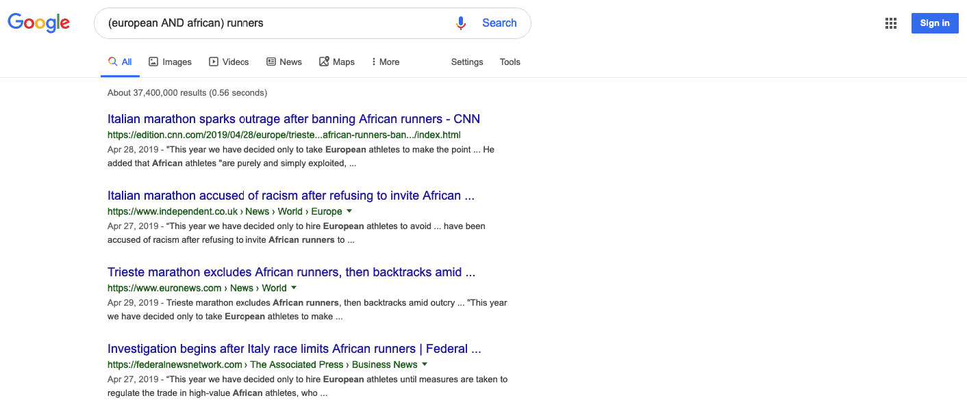 Google search results for (european AND african) runners