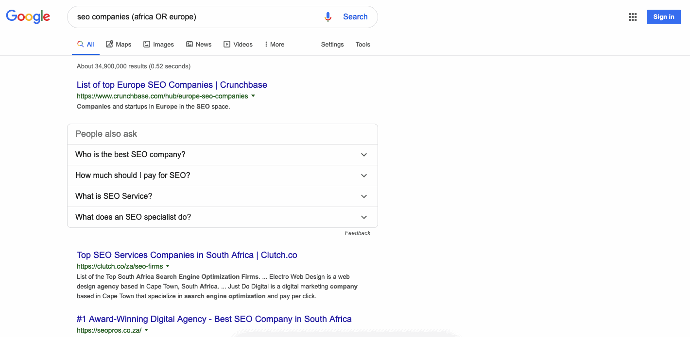 Google search results for seo companies (africa OR europe)