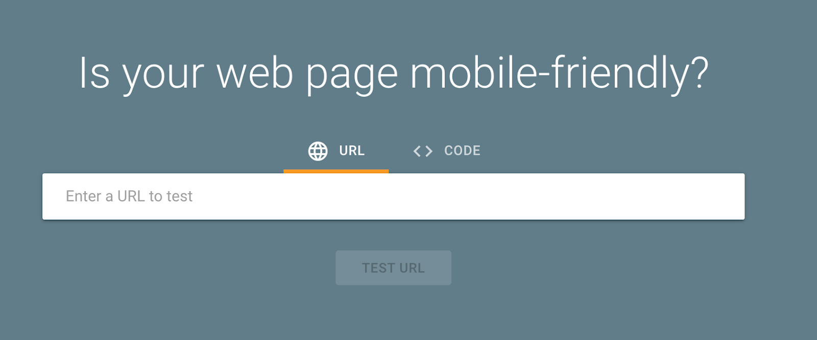 Google Mobile-Friendly Test Tool Landing Page Snippet