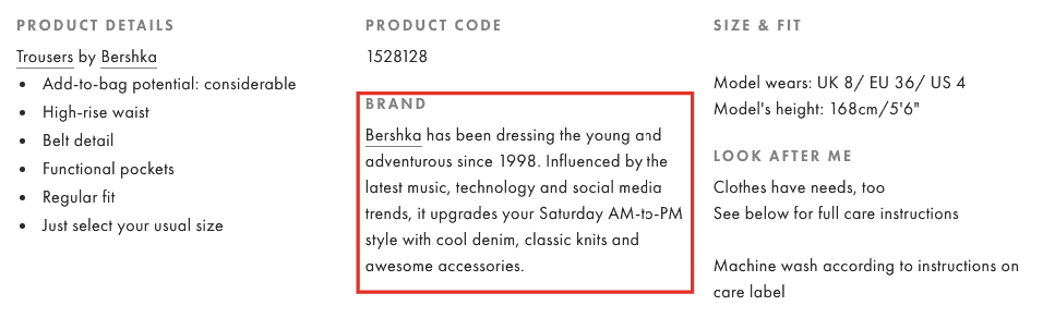 A screenshot of Asos product details