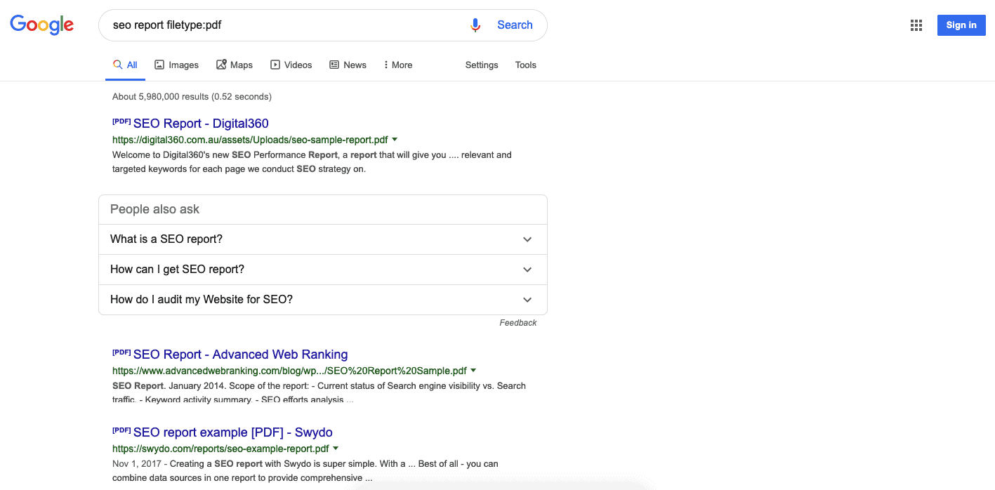 Google search results for seo report filetype:pdf