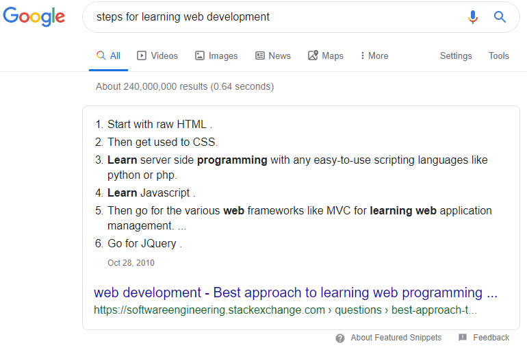Google number snippet for 'steps for learning web development'