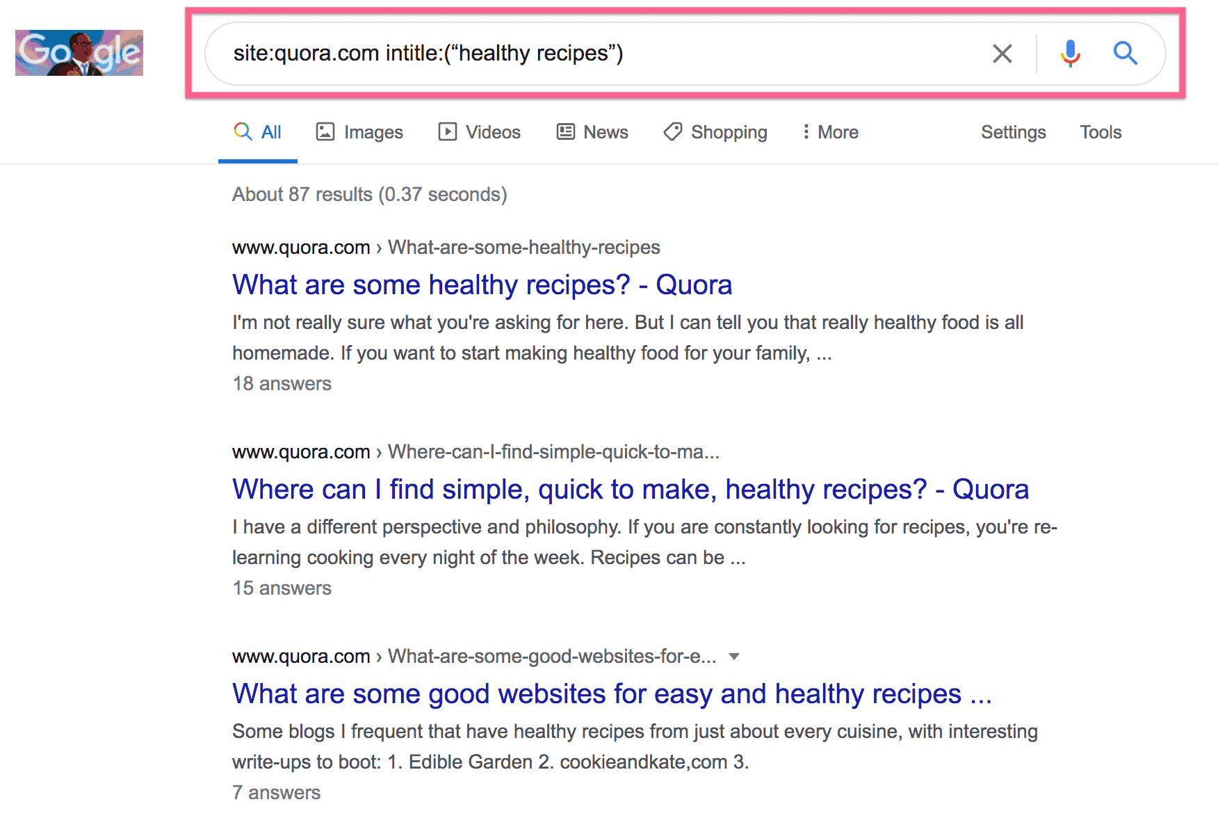 """Google search results for site:quora.com intitle:(""""healthy recipes"""")"""