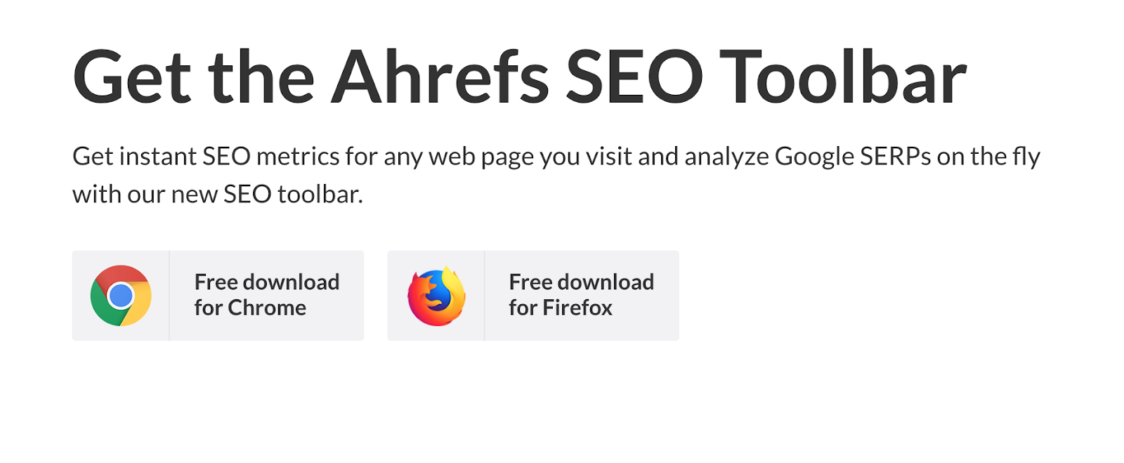 Ahrefs SEO Toolbar Landing Page Snippet