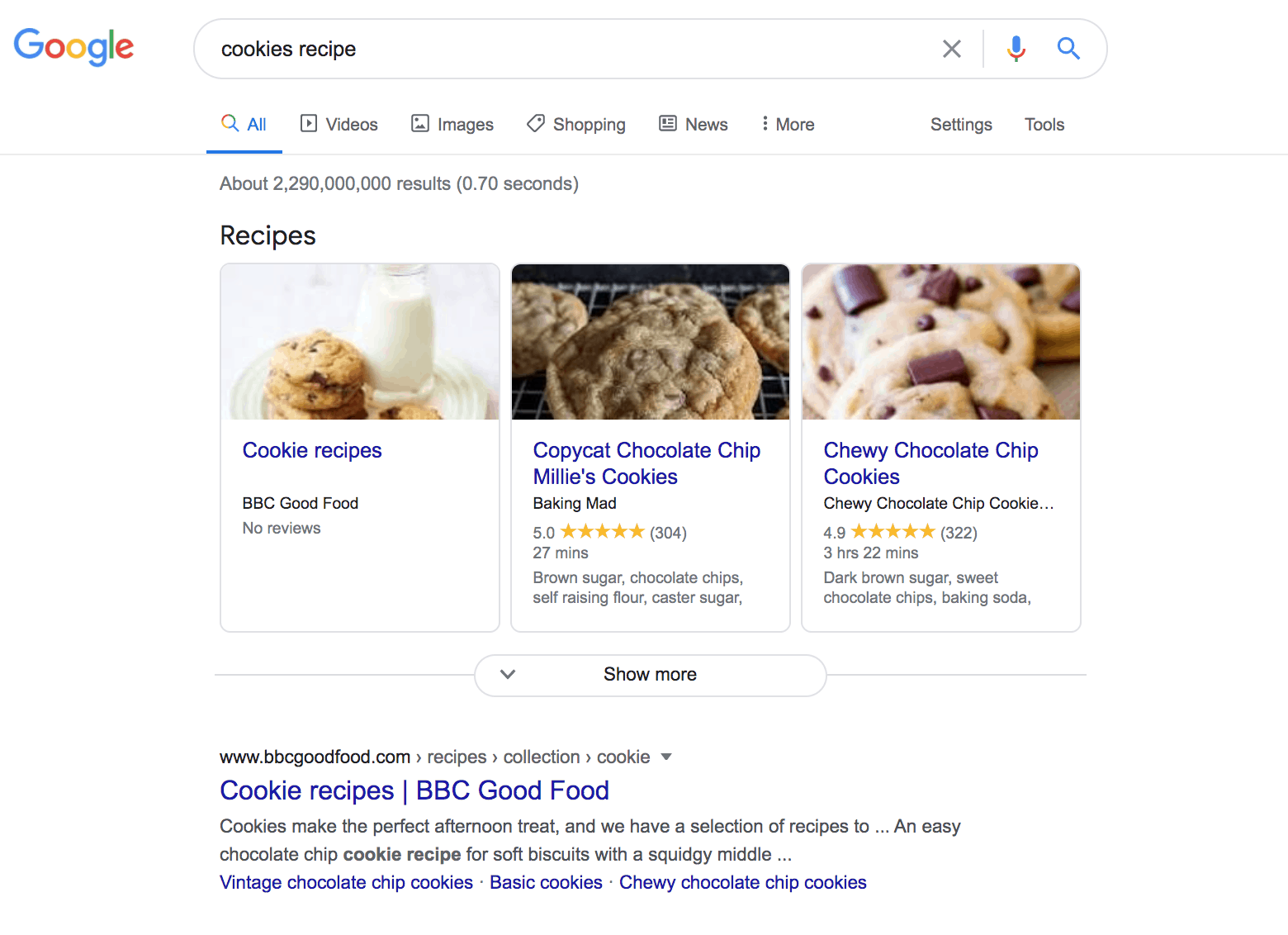 Google search results for cookies recipe