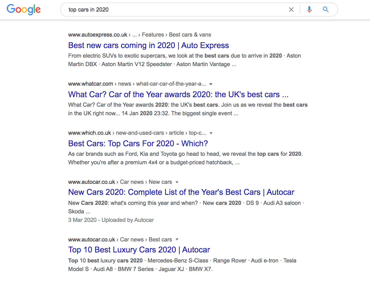 Google search results for top cars in 2020