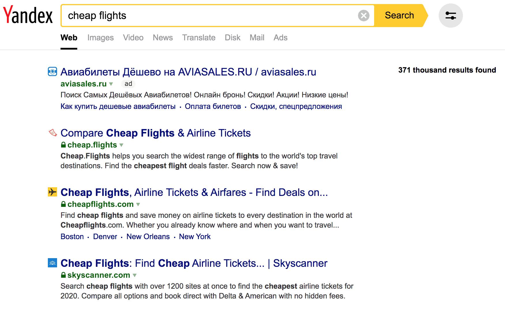 Yandex rank