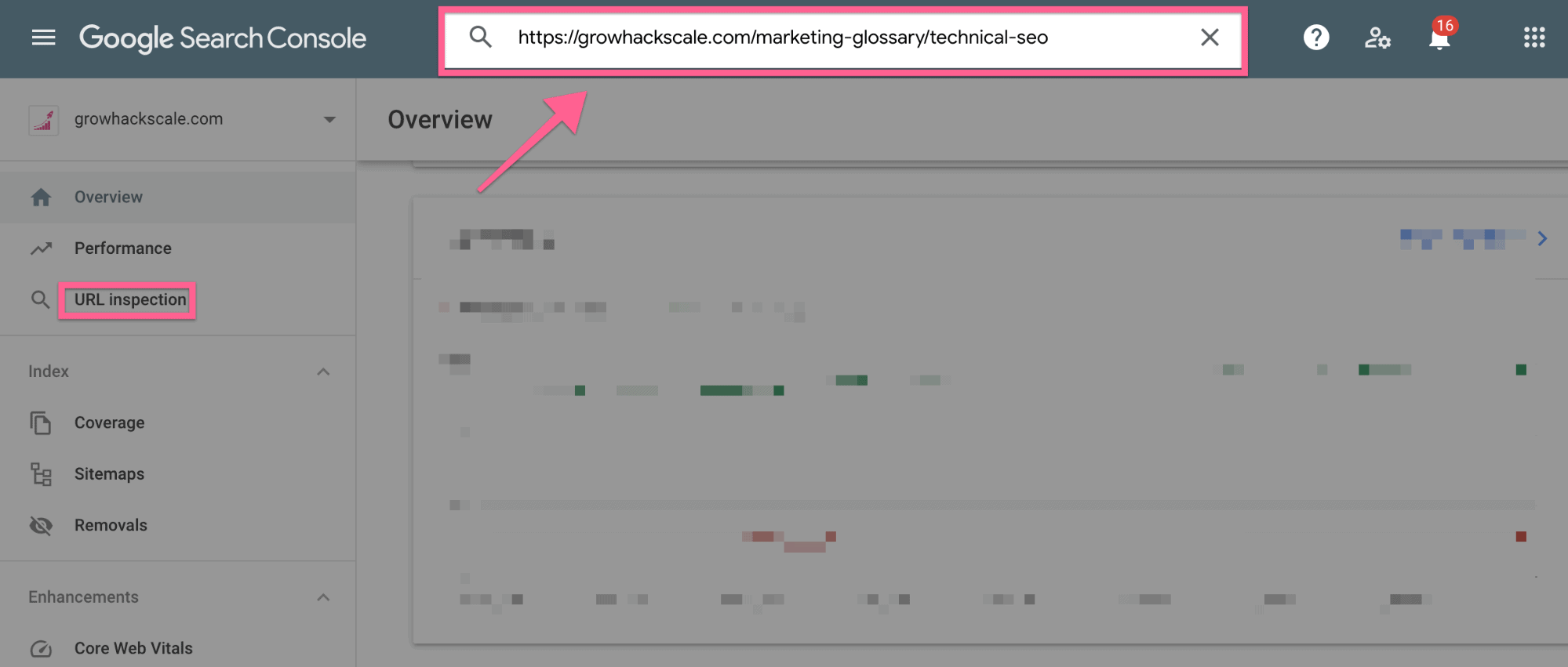 A screenshot of Google search console URL inspection