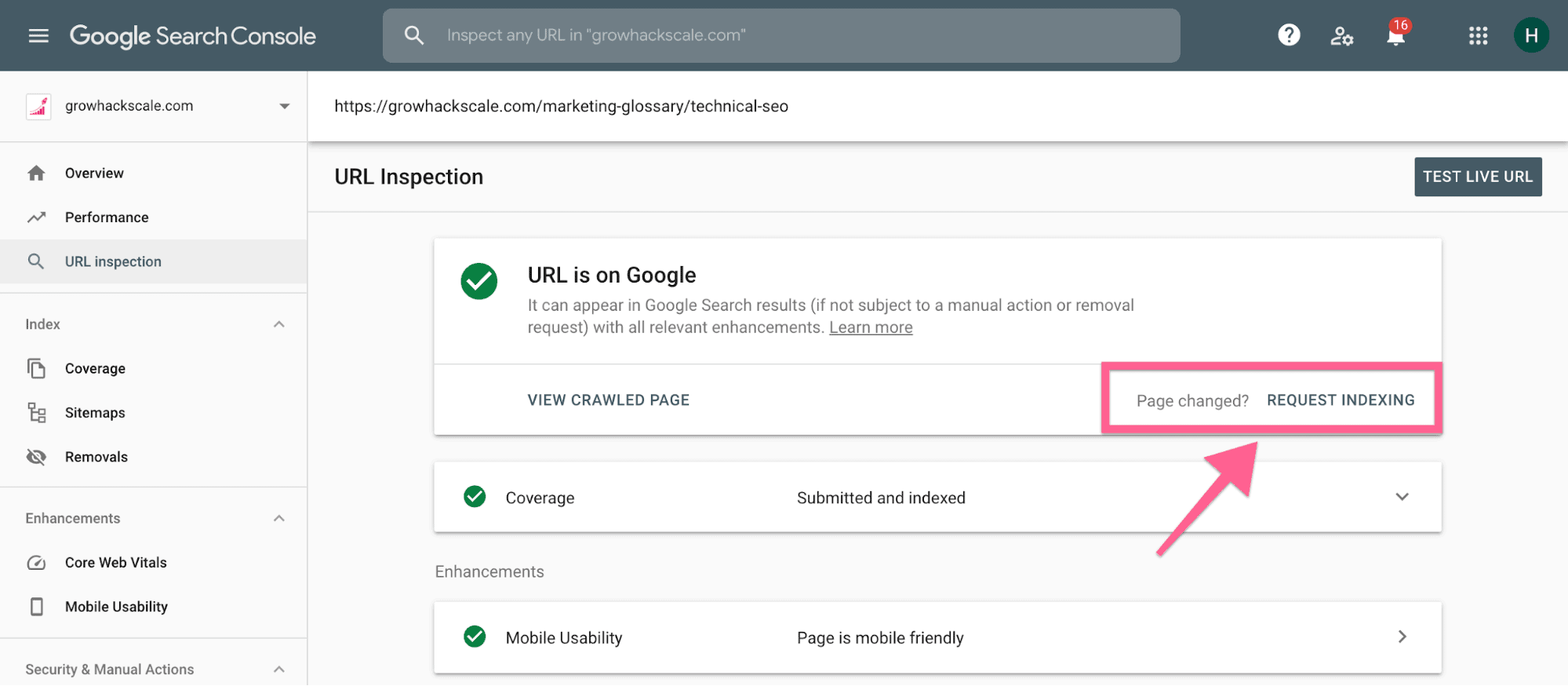 Request indexing on Google search console