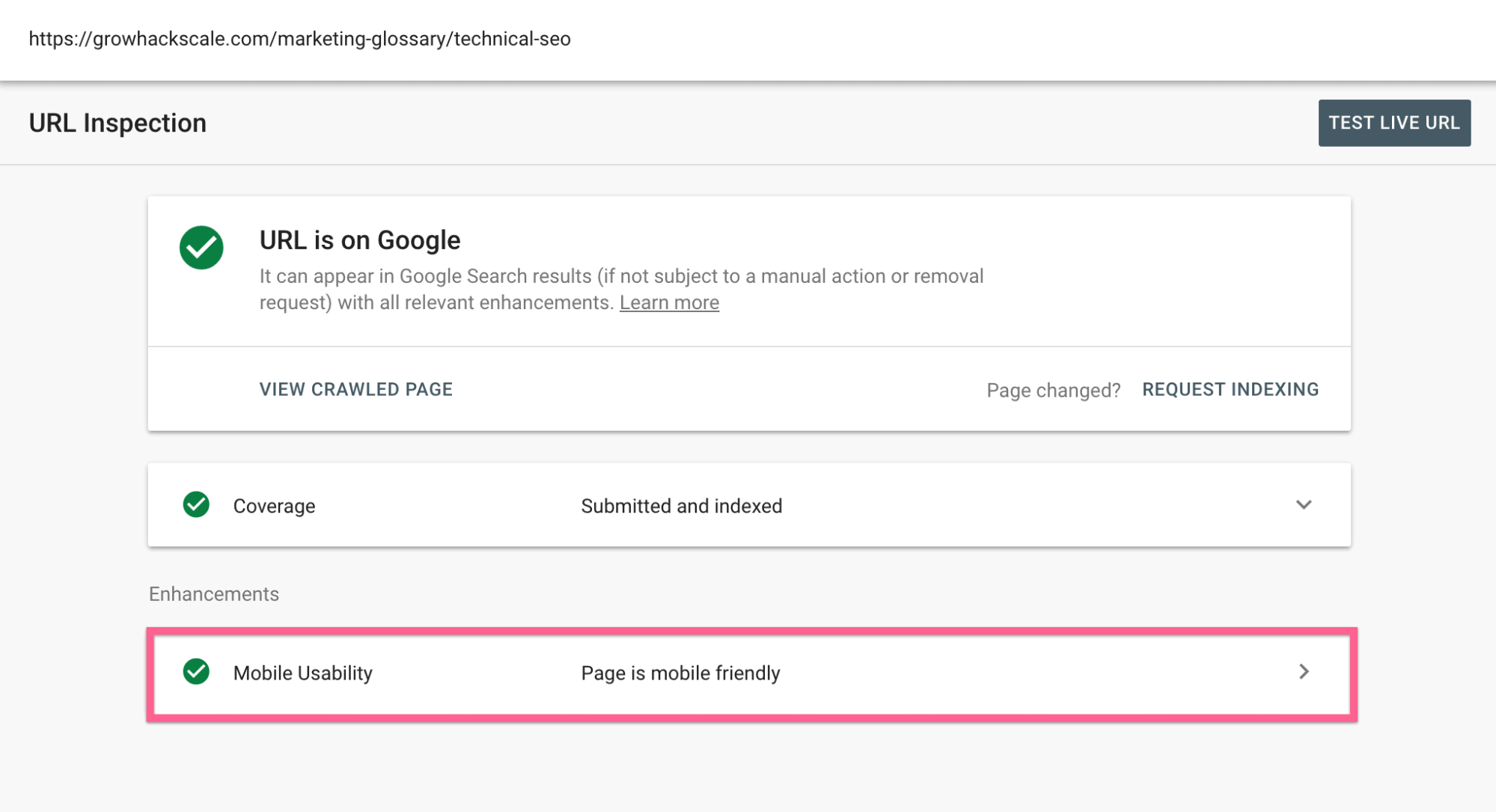 Mobile Usability Check on Google search console - 2