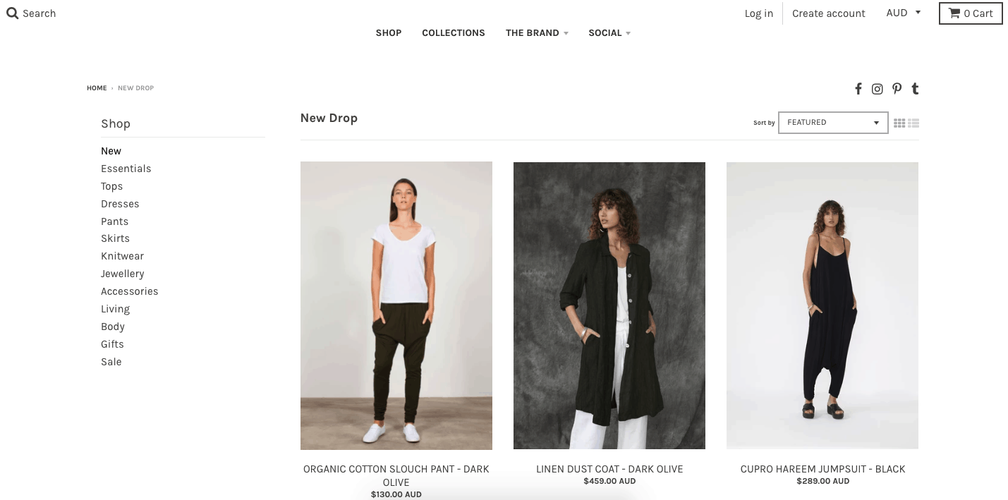 Shopify store for Australian designer clothing brand Tluxe