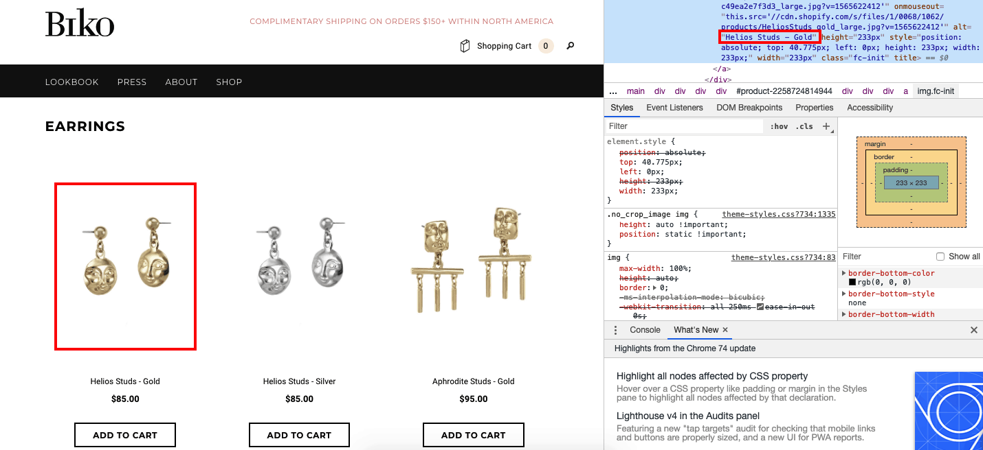 A screenshot of jewellry brand Biko's website alt tag inspection