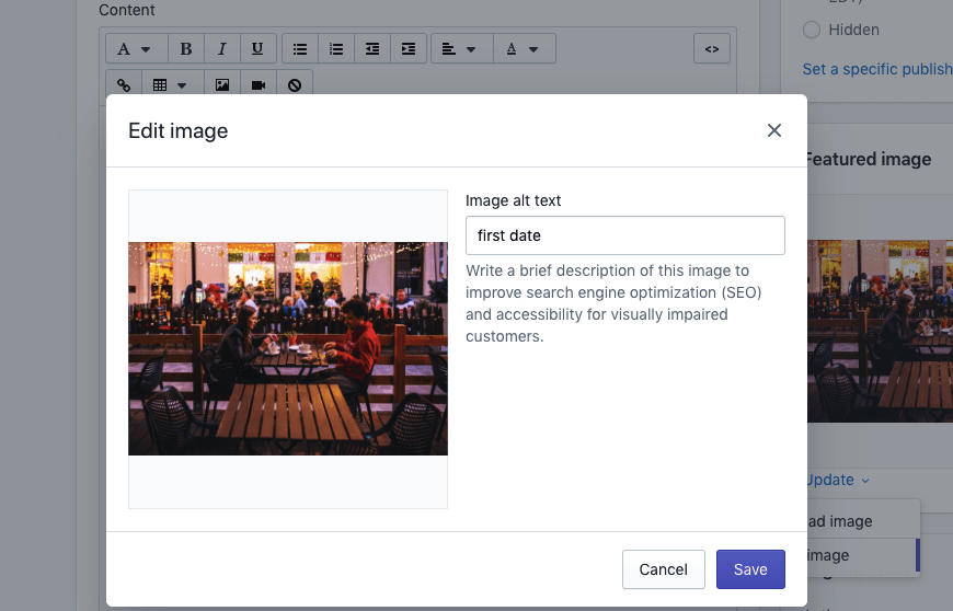 A screenshot of WordPress edit image option