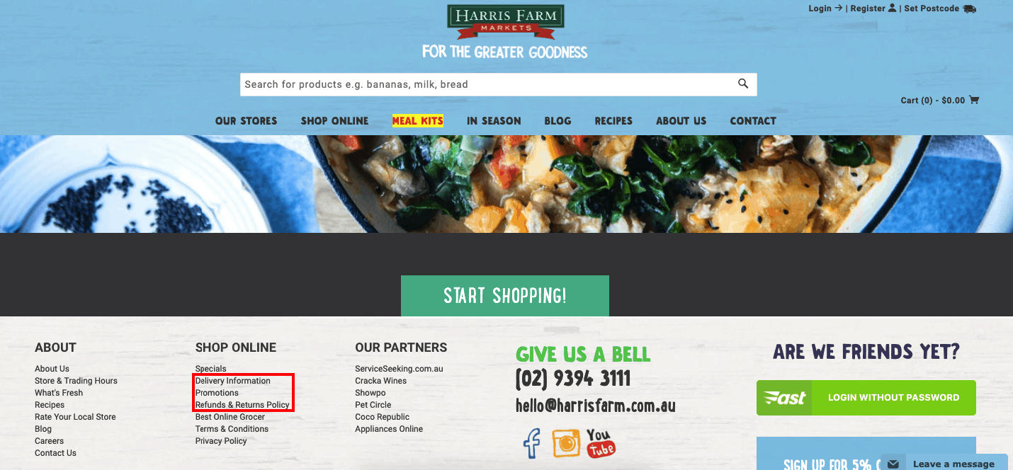 A screenshot of Australian fresh produce brand Harris Farm Markets' Shopify store