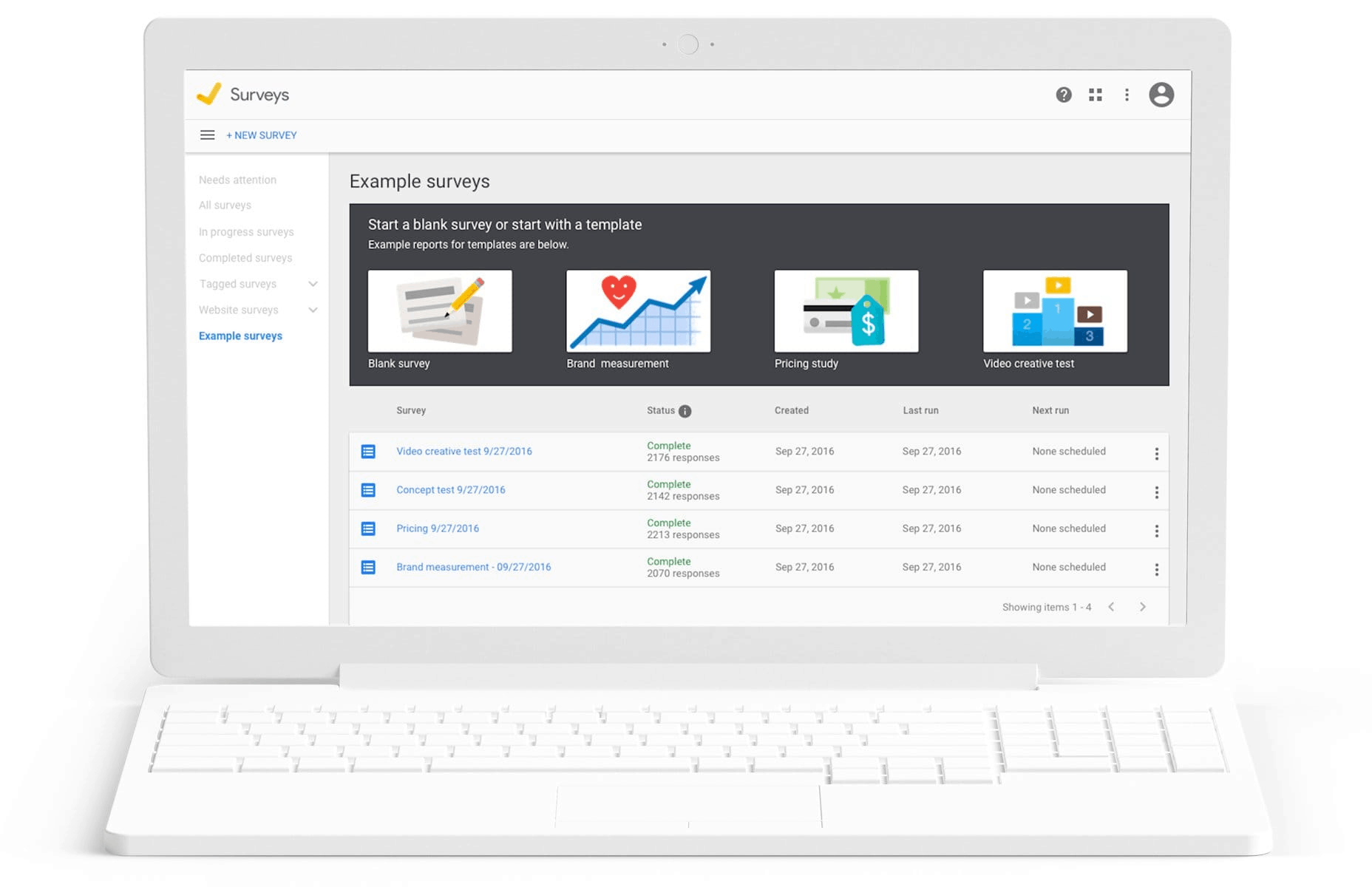 Google Customer Surveys Sample Dashboard