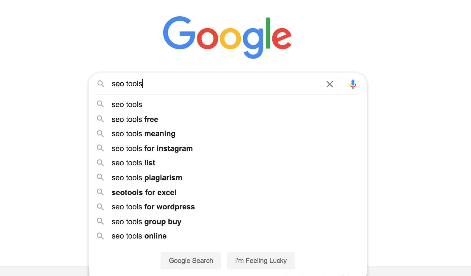 Google search results for SEO Tools