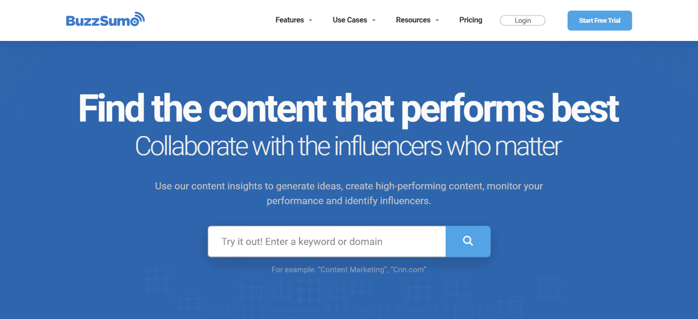BuzzSumo Homepage Snippet