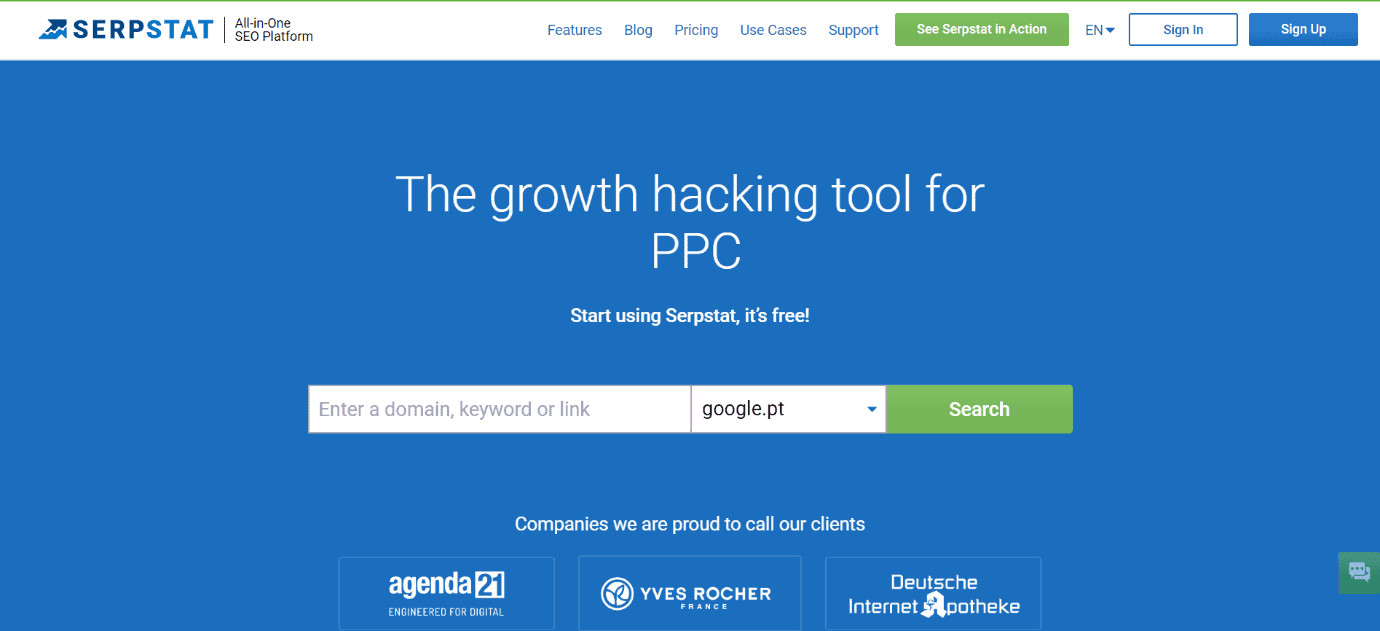 Serpstat Homepage Snippet