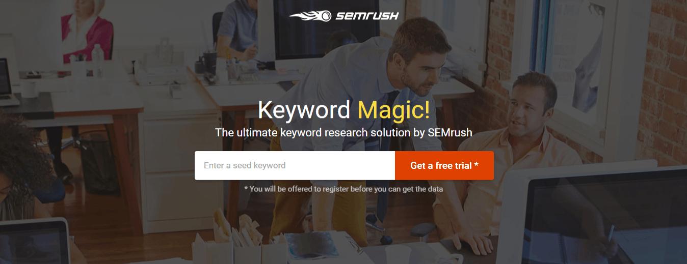 SEMrush Keyword Magic Tool Landing Page