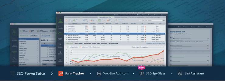 SEO Powersuite Dashboard Mockup - SEMrush Competitors Alternatives