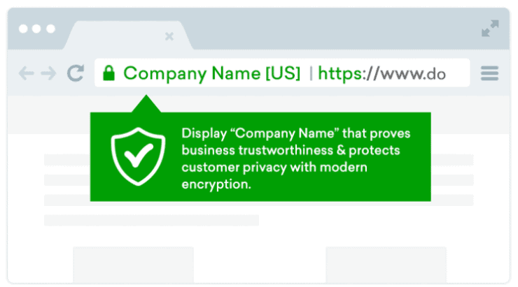 Graphic design of a browser showing a secured URL with a company name display.