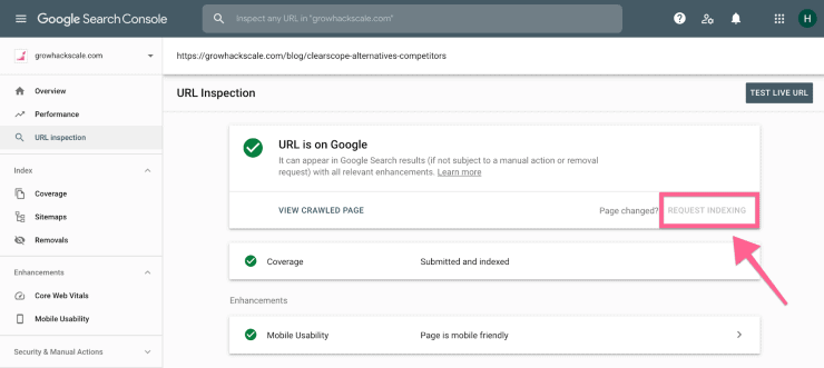 A screenshot of Google Search Console showing how to request indexing.