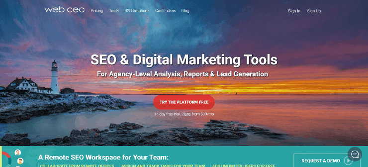 WebCEO Homepage Snippet - Free and Paid Ahrefs Alternatives