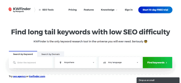 Mangools-KWFinder Landing Page Snippet - Free and Paid Ahrefs Alternatives