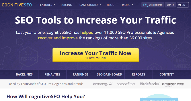 Cognitive SEO Landing Page Snippet - Ubersuggest Alternatives