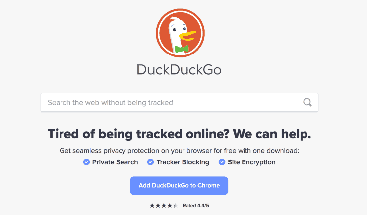 alternative search engines to google - a screenshot of DuckDuckGo search engine homepage
