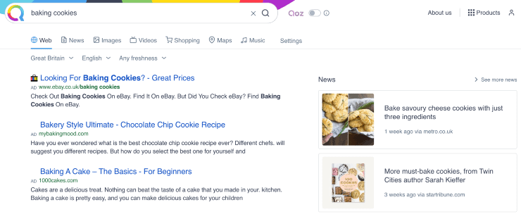"alternative search engines to google - search results from ""baking cookies"" on Qwant search engine"