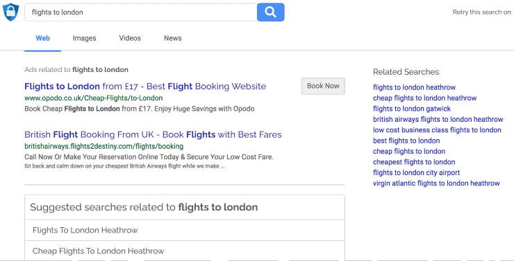 "alternative search engines to google - search results for ""flights to london"" on Search Encrypt search engine"
