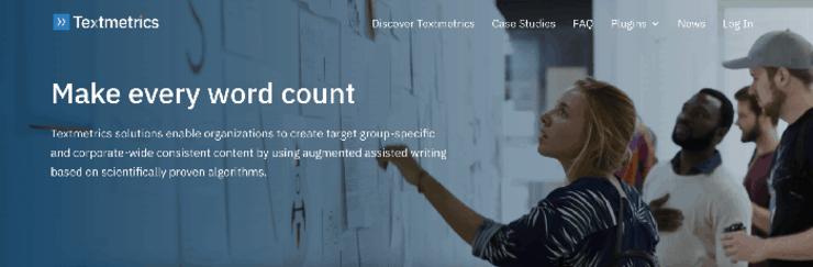 Textmetrics homepage - Clearscope Alternatives