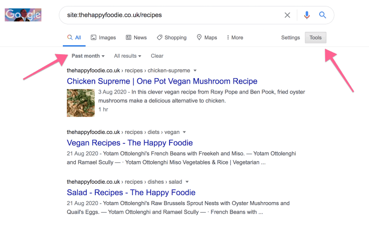 Google search results for site:thehappyfoodie.co.uk/recipes
