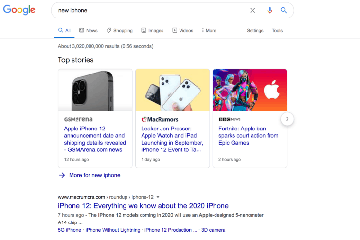 Google freshness update: Google search result for new iphone