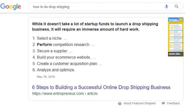 Google featured snippet for 'how to do drop shipping'
