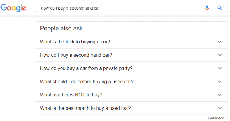 Google related questions for 'how to I buy a secondhand car'
