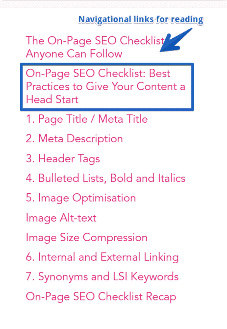 content menus - on page seo checklist