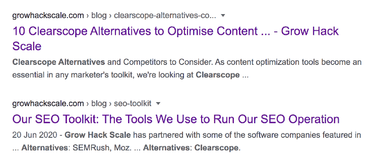A screenshot of Google SERPs showing Grow Hack Scale blog articles